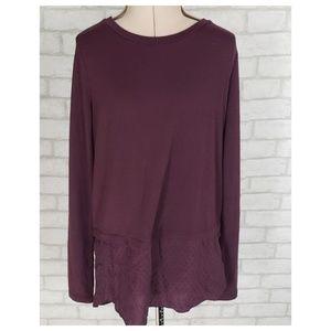 Ann Taylor Loft Wine Back Button Up Sweater XS